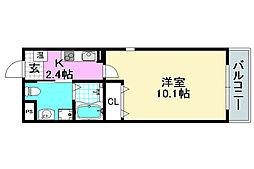 阪急京都本線 正雀駅 徒歩7分の賃貸マンション 2階1Kの間取り