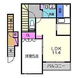 南海高野線 萩原天神駅 徒歩12分の賃貸アパート 2階1LDKの間取り