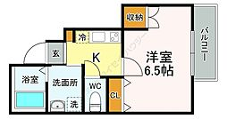 JR中央線 国立駅 徒歩12分の賃貸アパート 1階1Kの間取り