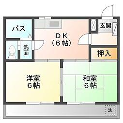 愛知県岡崎市日名本町の賃貸アパートの間取り