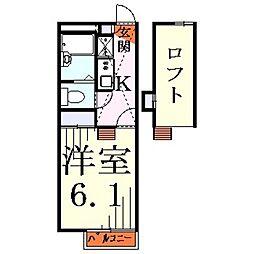 埼玉県川口市坂下町3丁目の賃貸アパートの間取り