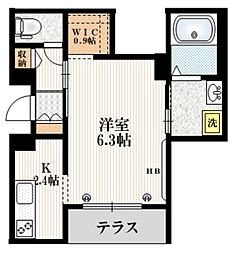 Mervelle oku-ekimae 1階1Kの間取り