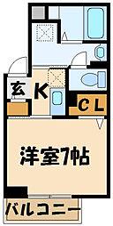 京王線 調布駅 徒歩6分の賃貸一戸建て 1階1Kの間取り