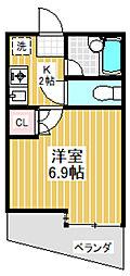 東京都中野区本町2丁目の賃貸マンションの間取り
