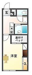 愛知県豊川市宿町小山の賃貸アパートの間取り