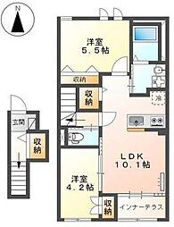 多摩都市モノレール 上北台駅 徒歩19分の賃貸アパート 2階2LDKの間取り