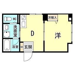 神戸市海岸線 ハーバーランド駅 徒歩10分の賃貸マンション 2階1DKの間取り
