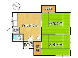 白水アパート[102号室]の間取り