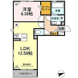 愛知環状鉄道 北岡崎駅 徒歩5分の賃貸アパート 2階1LDKの間取り
