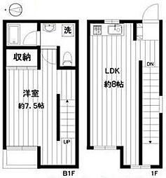 東急田園都市線 桜新町駅 徒歩7分の賃貸アパート 1階1LDKの間取り