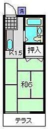 スカイハイツワカA[1階]の間取り