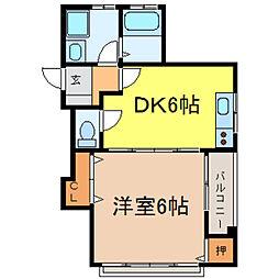 栃木県小山市城山町1丁目の賃貸マンションの間取り