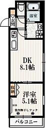 京王井の頭線 西永福駅 徒歩3分の賃貸マンション 2階1DKの間取り