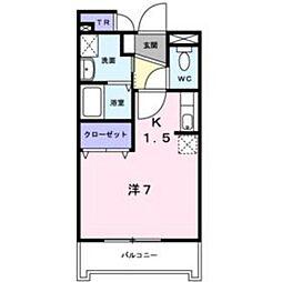 東武東上線 川越駅 バス26分 上中下車 徒歩5分の賃貸アパート 2階1Kの間取り
