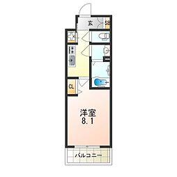 阪急京都本線 上新庄駅 徒歩3分の賃貸マンション 8階1Kの間取り