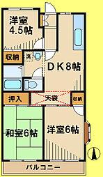 ボナール西元町 2階3DKの間取り