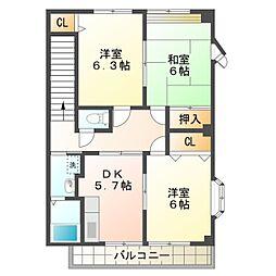 愛知県豊橋市忠興3丁目の賃貸アパートの間取り