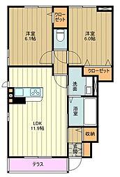多摩都市モノレール 泉体育館駅 徒歩8分の賃貸アパート 1階2LDKの間取り
