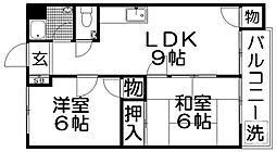 芳栄ハイツ[4階]の間取り