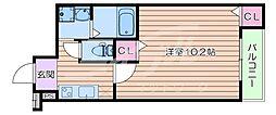 阪急千里線 豊津駅 徒歩9分の賃貸アパート 3階1Kの間取り