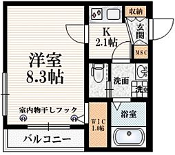 The Terrace Yotsuya 4階1Kの間取り