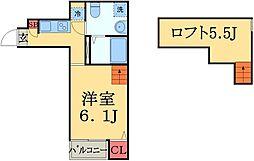千葉県千葉市中央区若草1丁目の賃貸アパートの間取り
