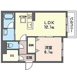 N‐MyLife Shinozaki 1階1LDKの間取り