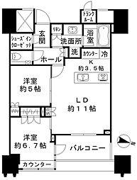 パークコート文京小石川ザタワー 20階2LDKの間取り