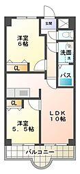 茶臼山ハイツ[11階]の間取り