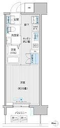 JR南武線 武蔵新城駅 徒歩6分の賃貸マンション 5階1Kの間取り