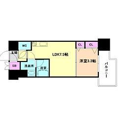 Osaka Metro谷町線 南森町駅 徒歩8分の賃貸マンション 12階1DKの間取り