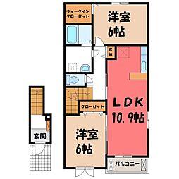 スイートタウン B 2階2LDKの間取り