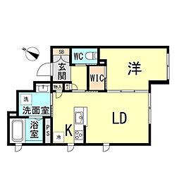 シャーメゾン六甲道 2階1LDKの間取り
