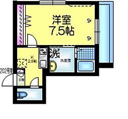 都営新宿線 本八幡駅 徒歩5分の賃貸マンション 2階1Kの間取り