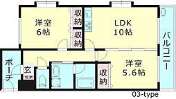 Vague桜ノ宮(ヴァーグ桜ノ宮) 6階2LDKの間取り