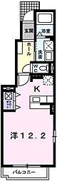 JR高崎線 北鴻巣駅 徒歩3分の賃貸アパート 1階1Kの間取り