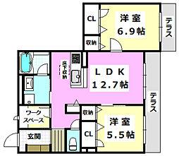 (仮称)茨木市シャーメゾン小柳町 1階2LDKの間取り