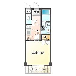 愛知県岡崎市河原町の賃貸アパートの間取り