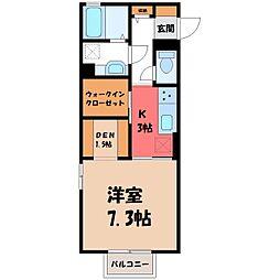 東武宇都宮線 新栃木駅 徒歩7分の賃貸アパート 2階1Kの間取り