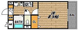 JR福知山線 川西池田駅 徒歩7分の賃貸マンション 1階1Kの間取り