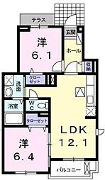 愛知県豊田市上野町8丁目の賃貸アパートの間取り
