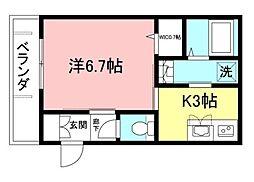 都営新宿線 曙橋駅 徒歩6分の賃貸マンション 3階1Kの間取り