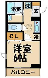 Comfort yuuya 2階1Kの間取り