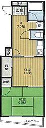 桜井マンション 3階2Kの間取り
