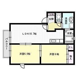 エスポワール瓦田[2階]の間取り