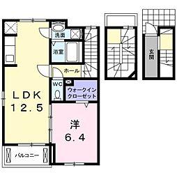 チャク弐番館 3階1LDKの間取り