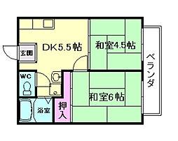 大阪府豊中市上野西3丁目の賃貸アパートの間取り