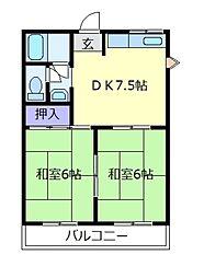 土師コーポ[3階]の間取り