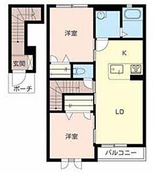 ラ・フルール2[2階]の間取り