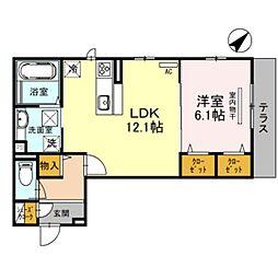 仮称・D-room北区百舌鳥本町 1階1LDKの間取り